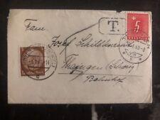 1940 Singen Germany Postage Due Cover To Thayngen Switzerland