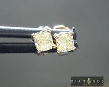 .39cts Fancy Light Yellow Cushion Cut Diamond Earrings R6255 Diamonds by Lauren