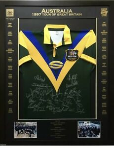 1997 Australian Super League Tour Of Great Britain Signed & Framed rugby jersey