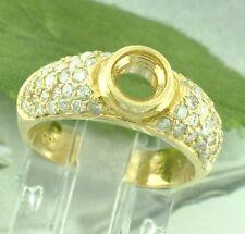 0.75 ct 14k Solid Yellow Gold Ladies Semi Mount Diamond Ring bezel center prong