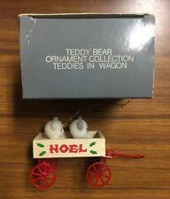 Vintage Boxed AVON TEDDY BEAR ORNAMENT COLLECTION TEDDIES IN WAGON