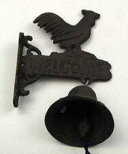 """Small Rooster Bell Wall Mounted Welcome Sign Solid Cast Iron 8"""" Overall Height"""