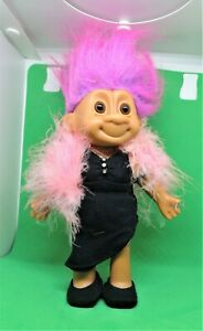 RUSS Vintage TRACY TROLL DOLL Black evening dress pink boa SHOES MOVABLE