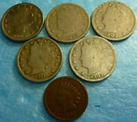5  Liberty V Nickel Assortment  Coin Collection  Plus Indian cent #5VNI