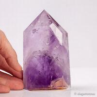 630g 121mm Natural Purple Amethyst Quartz Crystal Point Obelisk Tower Healing