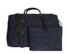 DOLCE   GABBANA Men s Blue Denim and Brown Leather Travel Gym Organizer Bag bfdf1716f3311
