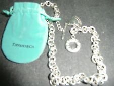 Tiffany & Co Silver Double Heart Tag Toggle Charm Choker Necklace