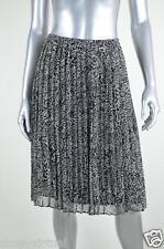 Jones New York New Black Animal Print Chiffon Pleated Skirt MSRP $109 Size 2