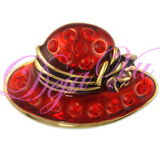 CRYSTAL GOLD PLATED RED HAT BROOCH PIN MADE WITH SWAROVSKI ELEMENTS