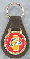 Vintage Red Ford ELITE Leather USA Keyring Key Fob Key Holder