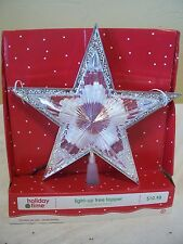 10 IN SILVER & TRANSPARENT STAR ILLUMINATED TREE TOPPER CHRISTMAS DECORATION
