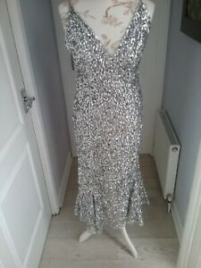 Stunning new long silver sequin dress size S/M