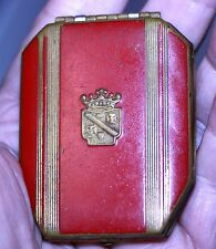 vintage RICHARD HUDNUT mirror compact RED enamel brass EMBOSSED CROWN crosses
