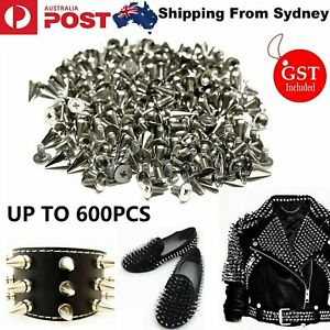 600X Silver Metal Studs Rivet Bullet Spike Cone Screw Leather Craft DIY 7X9.5mm