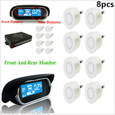 8 pcs Parking Sensors Front Rear Dual Display Car Reverse Backup Radar Detector
