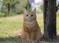 NEW Sitting Large Orange Tabby Cat Figurine - Life Like Statue Home / Garden