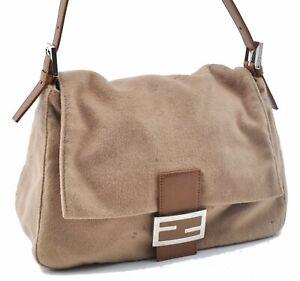 Authentic FENDI Mamma Baguette Shoulder Hand Bag Suede Leather Beige E2665