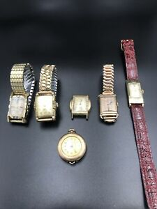 Vintage mens wrist watch lot Art Deco Gotham, Bulova, Gruen, Elgin, Century U103