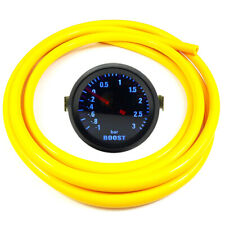 """52mm 2"""" AGG-1 Smoked Turbo Boost Gauge -1 to 3 Bar Pressure Yellow Hose"""