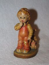 "Anri Italy Sarah Kay Wood Carved Little Boy W/Bear ""Finding Our Way"" Figurine"
