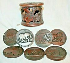 New listing Vintage Wooden African Coasters Lion, Rhino, Elephant Hand Carved Cup Holder