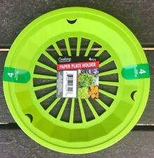 "Plastic 9"" Paper Plate Holders Set of 4 Green Lime $6.04 PICNICS,BBQ,CAMPING"