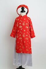Vietnamese Ao Dai Khan Dong For Girls - Kids Sizes  1-5 (Red, Hot Pink,)