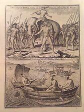 RE DI COCHIN SU ELEFANTE - VASCELLO INDIANO MALABAR acquaforte 1745   ASIA