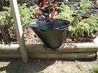 vtg antique country farm coal ash metal bucket scuttle yard art flower planter