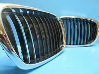 Set Left & Right Front Hood Grills Replace BMW OEM# 51137005837/38 Chrome Black