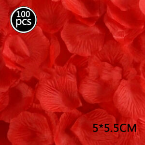 100pc Rose Artificial Petals Colorful Silk Cloth Wedding Birthday Party Decor G