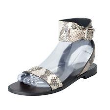 769823e5c9b8 Saint Laurent Women s Python Print Leather Ankle Strap Flats Sandals Shoes