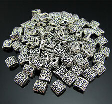 FREE 100PCS Crafts Tibetan silver Totems Square Rondelle Findings Pendant beads