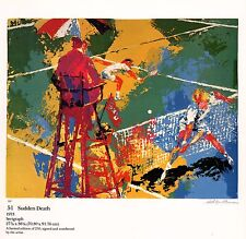 "LEROY NEIMAN BOOK PRINT ""SUDDEN DEATH"" END OF HARD-FOUGHT TENNIS MATCH SINGLES"