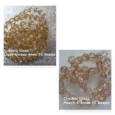 Crackle Glass Beads 4mm Light Amber Bead Art 5-6mm Peach