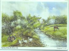 Spring along River Irk Chadderton Oldham 2007 watercolour David Ford postcard