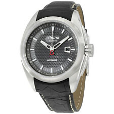 Alpina Nightlife Club Grey Dial Black Leather Strap Men's Watch AL525B4RC6