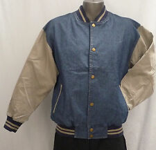 Light Weight, Mid Blue Denim / Cotton Sleeves Baseball Jacket (Size L)