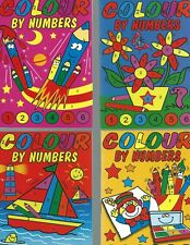 24 A6 SIZE COLOUR BY NUMBERS 6 EACH OF 4 DESIGN'S PARTY/LOOT BAGS-SMALL-GIFTS