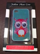 iPhone 4 - 4S Hard Plastic Case OWL Glitter Bling New