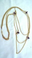 """MADE IN KOREA Amethyst LILAC GOLD TONE 3 STRAND NECKLACE 32"""""""