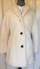 Design Lab Lord & Taylor Winter Coat Women's Color Cream Faux Fur 100% Acrylic