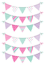 Pink And Purple Bunting Cake Topper Edible Wafer Paper A4 Sheet