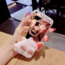 Bling Diamond Crystal Mirror Case Ring Holder Kickstand Cover For Various Mobile