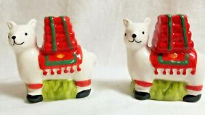 Llama, Llama Animal Holiday Salt Pepper Shakers White Red Green
