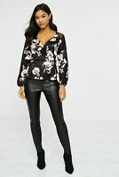 Lipsy London Womens Long Sleeve V-Neck Ladies Black Wrap Top with Floral Print