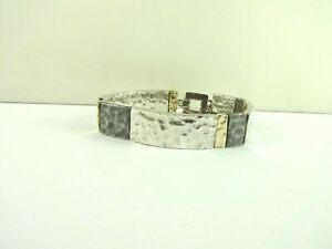 """Sterling Silver Beautiful Shiny Two Tone Hammered Panel Toggle Bracelet 8"""" 32.5g"""