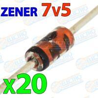 Diodo Zener 7v5 7,5v 500mW ±5% - Lote 20 unidades - Arduino Electronica DIY