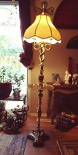 Vintage JAD Orig.  Cloisonned Brass Breadtwist Floor Lamp W Guilded edge Table