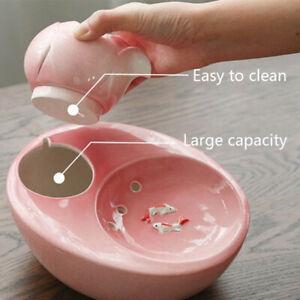 Ceramic Cat Dog Pet Automatic Circulating Water Dispenser Fountain Quie